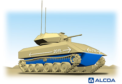 Foto: Ideální vozidlo podle firmy Alcoa  - spodní část trupu hliníková slitina, vrchní část ocelová. / Alcoa
