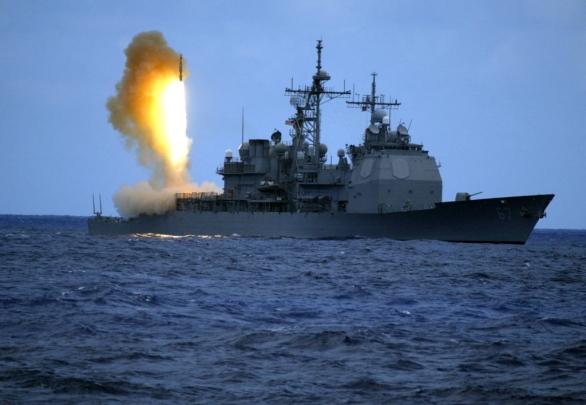 Odpal interceptoru SM-3 z lodi vybavené systémem AEGIS
