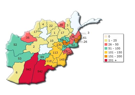 Infografika: Nejnebezpečnější části Afghánistánu jsou jižní regiony Hílmand a Kandahár. / icasualties.org