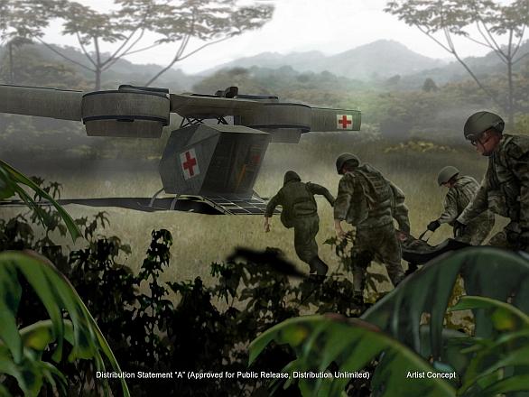 Foto: Jednou z hlavních rolí dronu Ares bude transport zraněných z bojiště. / DARPA