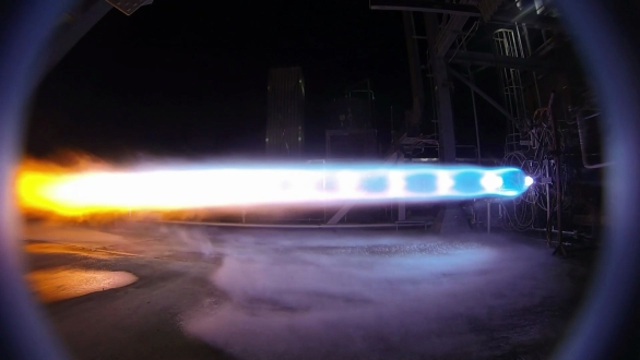 Foto: jeden z testů motoru BE-4. / Blue Origin