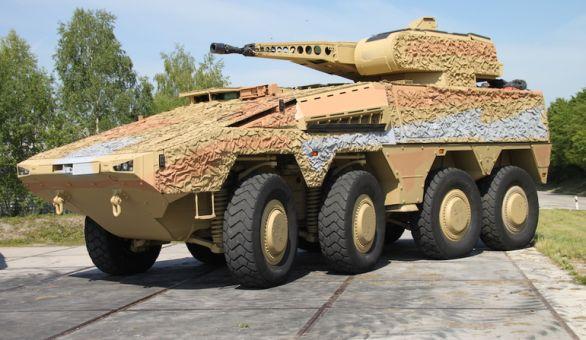 Foto: Představa kolového bojového vozidla na podvozku obrněného transportéru Boxer. / KMW