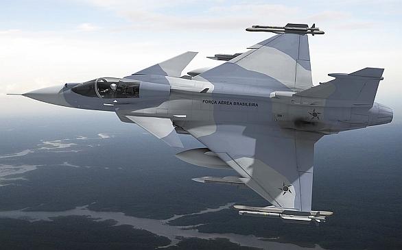 Foto: JAS-39 Gripen E/F v barvách brazilského letectva. / Saab