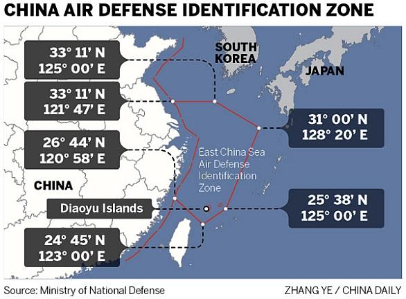 ytýčení čínské vzdušné zóny nad rozsáhlou oblasti Východočínského moře