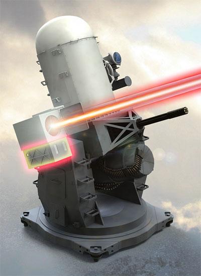 Foto: Raytheon testuje lasery i na lodních protivzdušných systémem blízkého dosahu PhalanxCIWS(Close-In Weapon System). / Raytheon