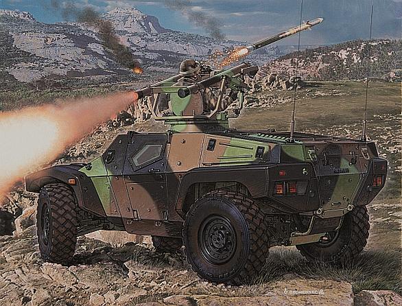 Foto: Panhard CRAB ve verzi s protileteckými střelami MBDA Mistral. / Panhard
