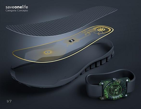 Foto: Detektor min SaveOneLife ukrytý v podrážce boty. / Lemur Studio Design