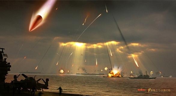 Foto: DF-21D v akci. Útok na americké lodě podle představ čínské propagandy. / čínský internet