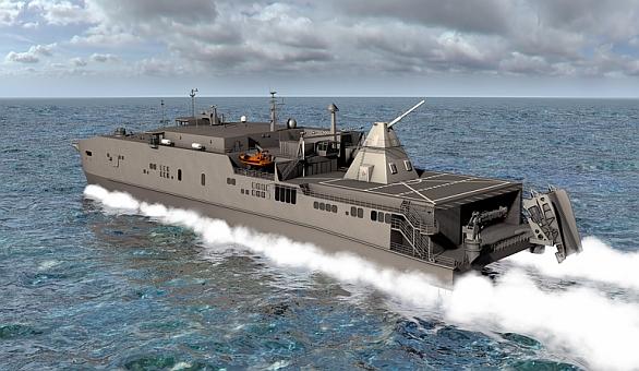 Foto: Americké námořnictvo pro potřeby testování nainstaluje elektromagnetické dělo na transportní loď USS Millinocket. Testy potrvají několik let. / U.S. Navy