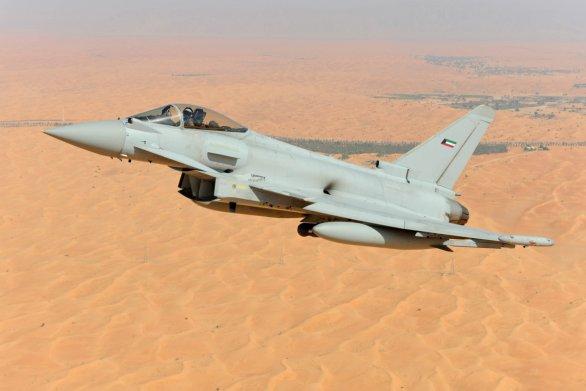 Foto: Footomontáž stíhačky Eurofighter Typhoon s kuvajtským výsostnými znaky; větší foto /