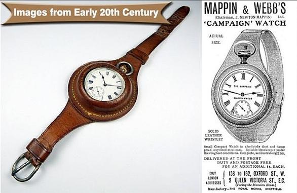 Kožené pouzdro na náramkové kapesní hodinky, vpravo dobová reklama firmy Mappin z roku 1901.