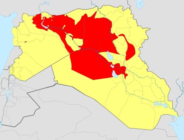 Foto: Nynější území kontrolované hnutím ISIL / NordNordWest,Spesh531,  CC BY-SA 3.0