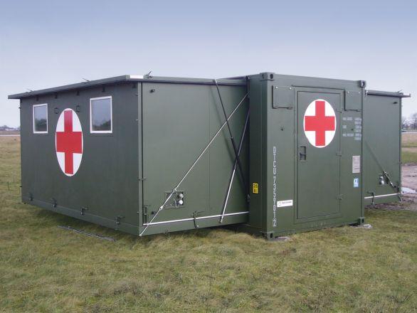 Foto: Na obrázku je rozšířitelný kontejner, kde lze vytvořit zázemí pro operační sál, případně místo pro ošetřování pacientů. / ABS Alpha