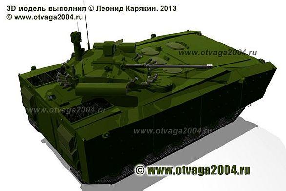 Foto: Jedna z posledních vizualizaci vozidla  Kurganěc-25 v provedení bojového vozidla pěchoty. /  Kurganmašzavod
