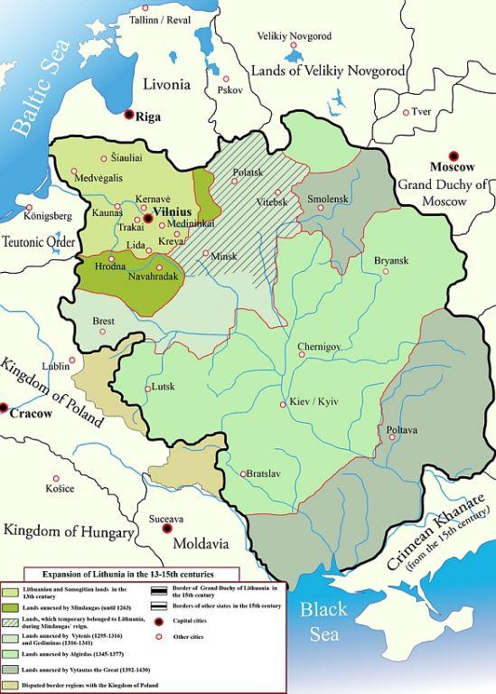 Foto: Litevská velkoknížectví v 13. až 15. století. / M.K. CC BY-SA 2.5
