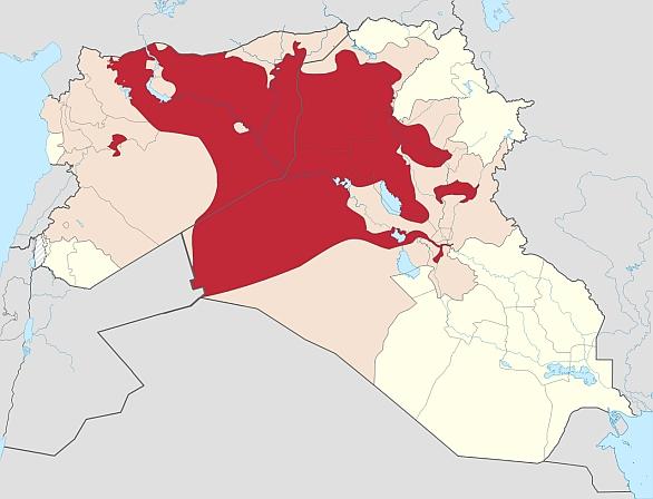 Foto: Situace z 22. záři 2014. Červeně je označená oblast pod kontrolou ISIL. Světle červeně je označena oblast, kterou si ISIL v současné době nárokuje. / CC BY-SA 3.0