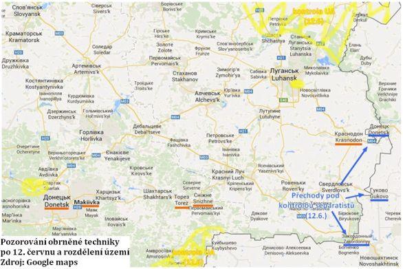 oto: Mapa oblasti s naznačenými / google.maps