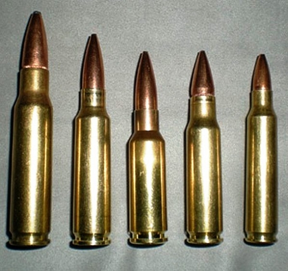 7.62x51mm NATO, 6.5x43mm intermediate calibre prototype, 6.5x39mm Grendel, 6.8x43mm Remington SPC, and 5.56x45mm NATO