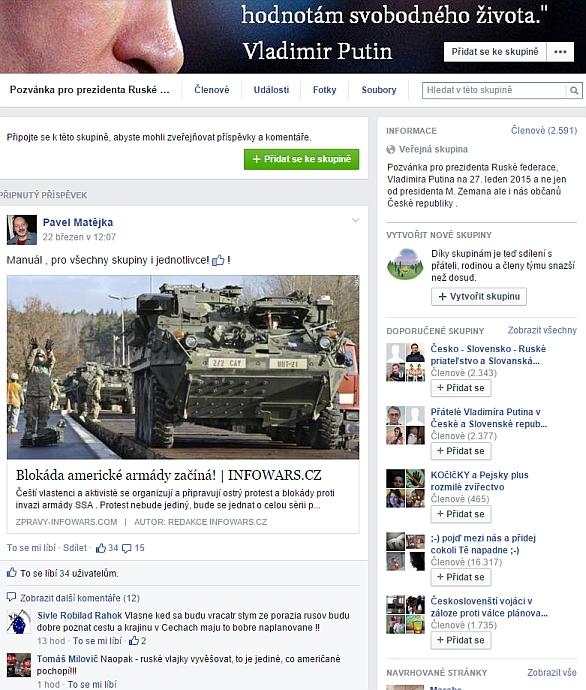 Foto: Na internetu se šikují odpůrci západu. Jedním z jejich přání je pozvat i Vladimíra Putina do České republiky. / FaceBook