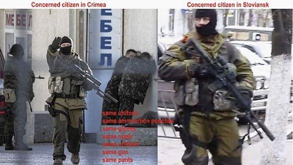 Foto: Fotka ozbrojence pořízená v  Simferopolu a údajně v  Sloviansku o měsíc později. / AFP, sociální sítě