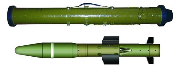 Foto: Polo-aktivní laserem naváděná protitanková střela a odpalovací pouzdro systému Corsar.  / Ukrspecexport