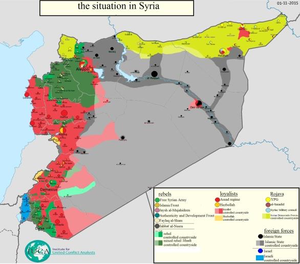 Foto: Situace v Sýrii, 1.11.2015; větší foto / United Conflict Analysis