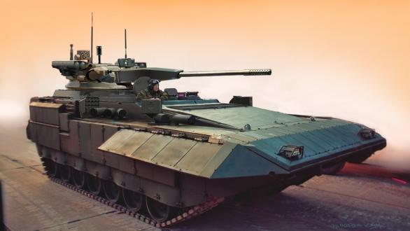 Foto: Vizualizace vozidla palebné podpory Terminátor 3 s 57mm kanónem; větší foto / Uralvagonzavod