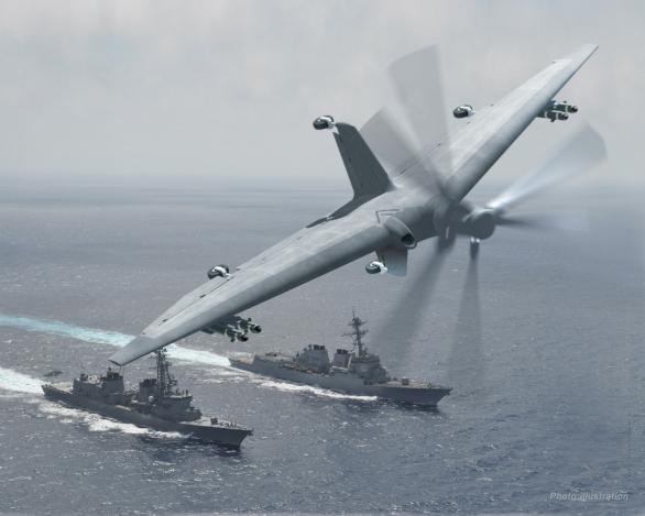 Foto: Vizualizace námořního dronu s kolmým startem a přistáním. / DARPA