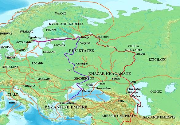 Foto: Obchodní cesty Varjagů po velkých tocích východní Evropy. / Public Domain