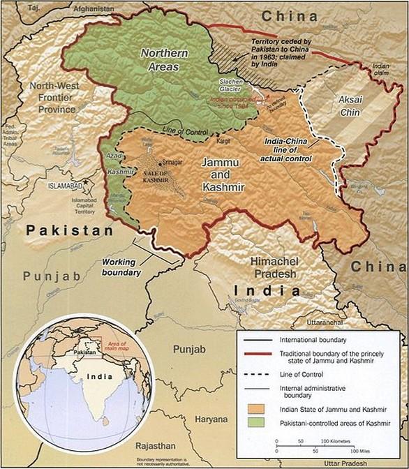 Mapa Kašmíru