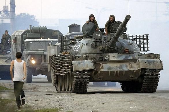 Ruský tank T-62 Gruzie