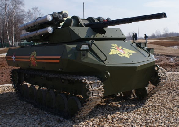 Foto: Zřejmě nejvyspělejším ruským bojovým robotem je typ Uran-9. /