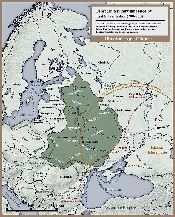 Foto: Oblast působené kmene Slovanů v 8. a 9. století. / Public Domain