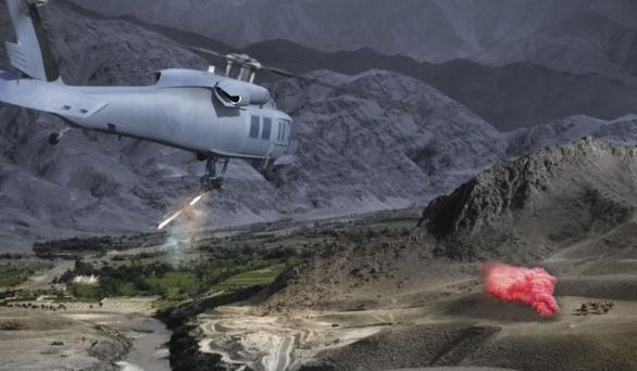 Foto: Dopravní vrtulník UH-60 Blackhawk osazený 25mm rychlopalným kanónem. / Duke Airborne Systems