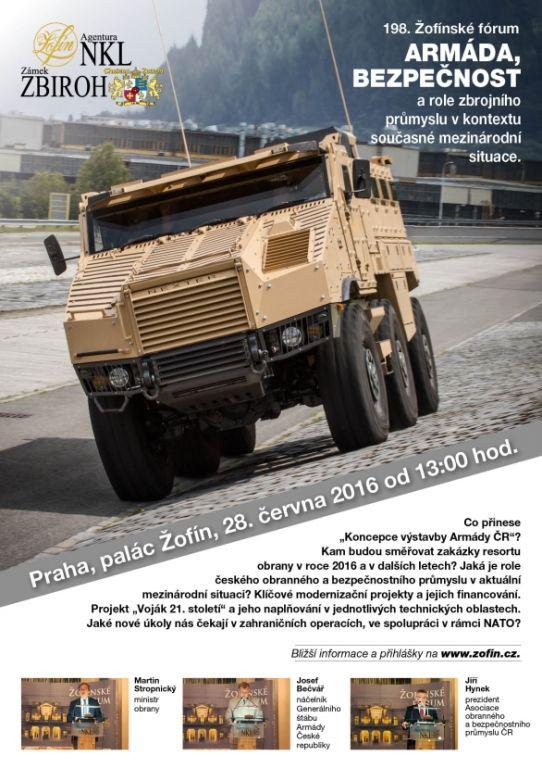 """198. Žofínské fórum """"Armáda, bezpečnost a role zbrojního průmyslu v kontextu současné mezinárodní situace""""."""